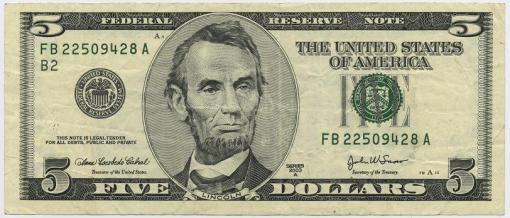 O homem da nota de US$ 5,00